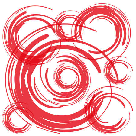 red brush circles on white background vector Vector