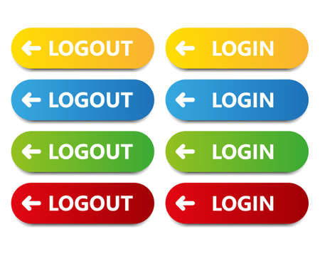 log out: vector color button log in log out