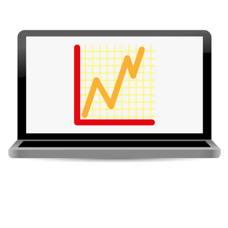 success line graph on computer screen