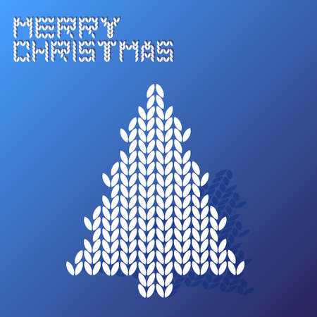 wool texture: merry christmas blue wool texture tree vector