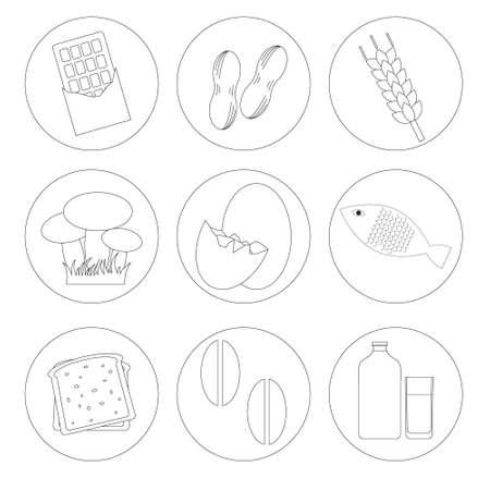 wholemeal: allergic food list labels vector Illustration