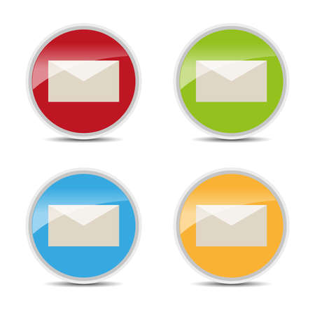 glossy icons: set of mail color glossy icons Illustration
