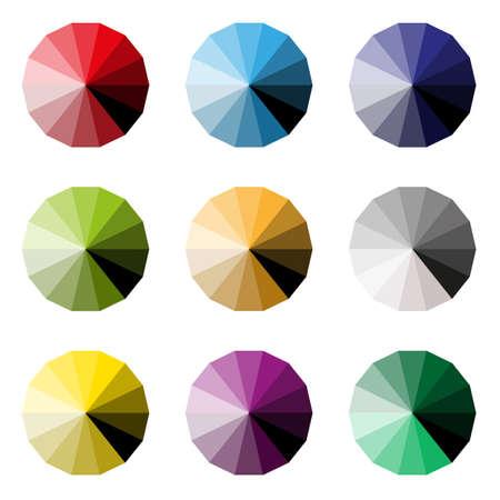 set of colorful pieces palette