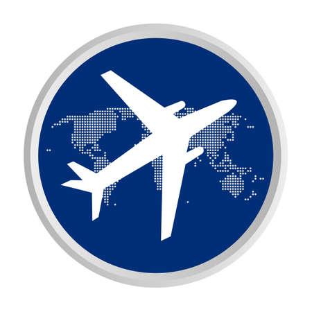 airplane fly around world icon Illustration