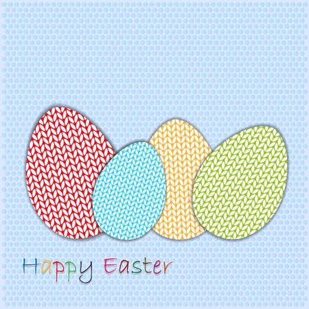 wool texture: happy easter wool texture eggs on texture background vector Illustration