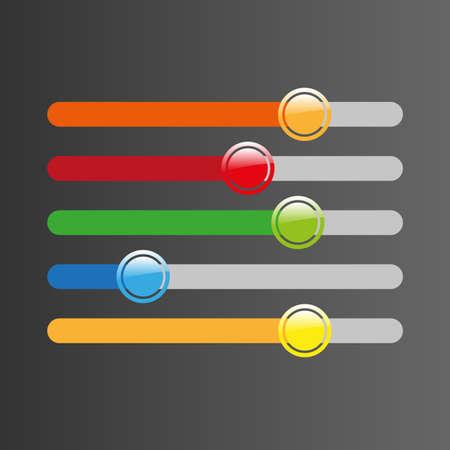 control panel: tasti colorati del pannello di controllo su sfondo nero Vettoriali