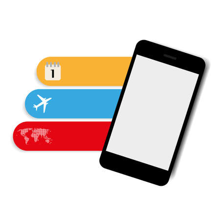 smart phone with color icons plane your trip vector Vector