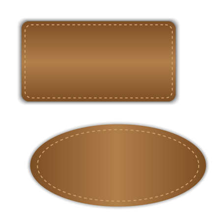 sew tags: empty leather badges vector Illustration