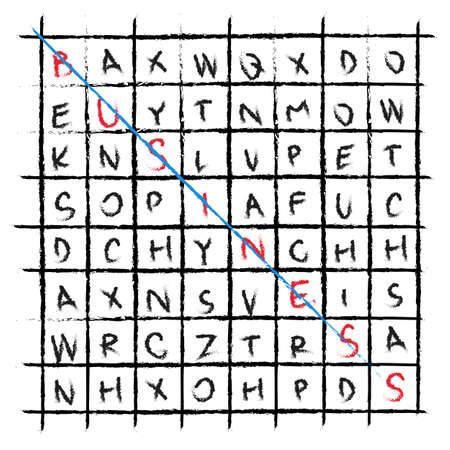 crossword: vector business drawing word find crossword Illustration