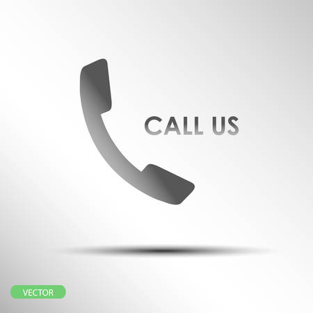call me: call us flat icon on gray abstract background