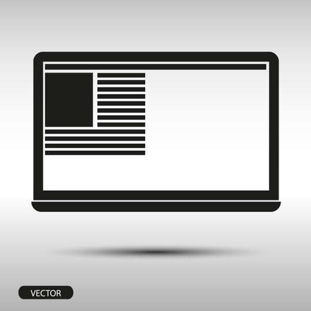 display size: laptop flat style on gray background - stock vector Illustration