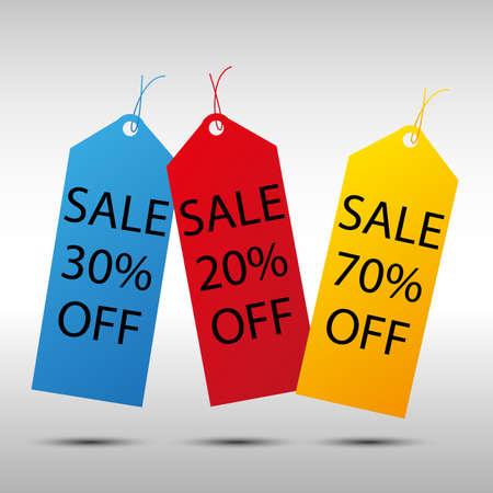 20 30: sale color tags 20, 30, 70% off