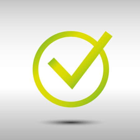 green tick: green tick symbol on gray background Illustration