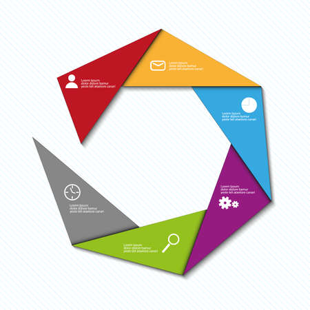 time account: info graphic vector triangle color template