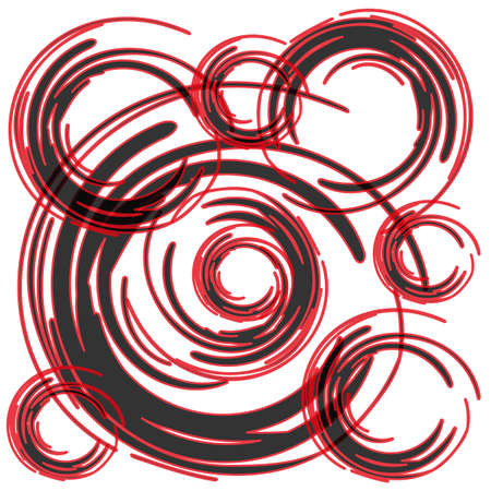 black and red brush circles on white background vector Illustration