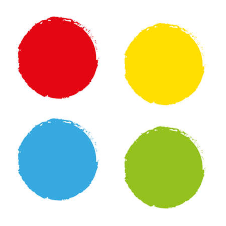 four empty color circle icons - create with vector brash