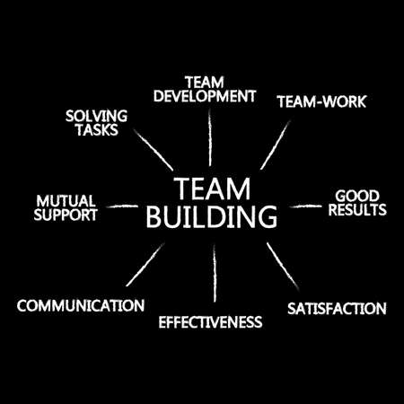 team building infographic created vector paint brushes