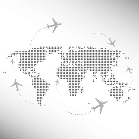 business class travel: dotted world map with aircrafts
