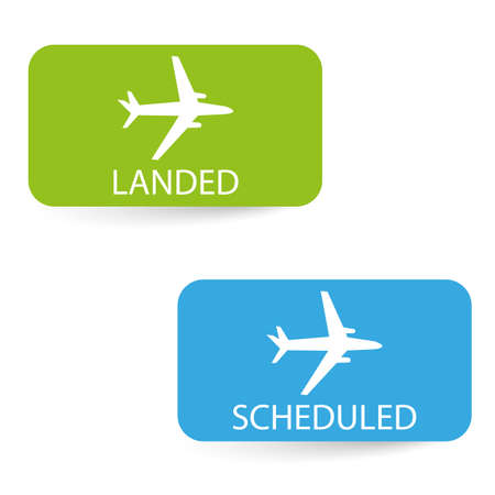 scheduled: scheduled and landed airport icons Illustration