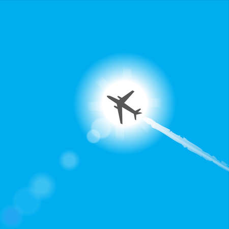 airplane travel: airplane sun and sky vector graphic