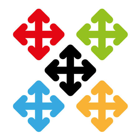 cursor arrows with color set vector Illustration