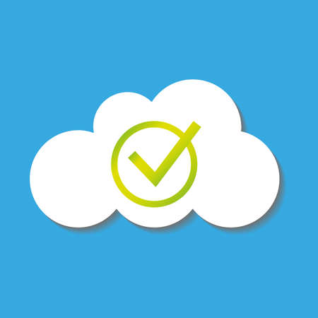solid background: flat cloud icon with check symbol Illustration