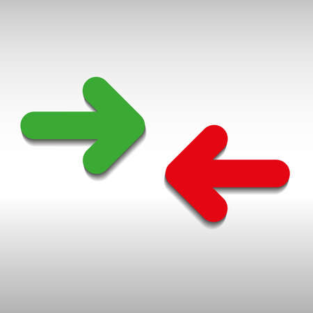 red arrow: green and red arrow flat style vector