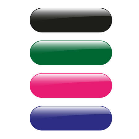 pink and black: four glossy empty buttons - vector graphic - black, green, pink and blue