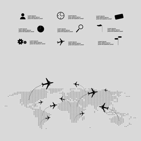 usher: air travel infographic vector