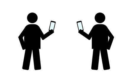 pager: mans with smartphone technology vector
