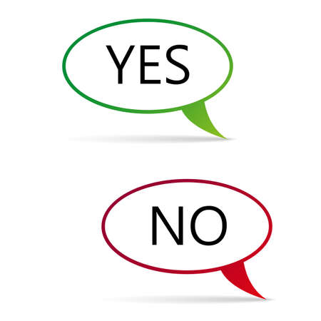 yes and no color bubbles with shadow on white background Illustration