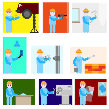 Repairman different professions set Illustration