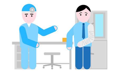 broken arm: broken arm in doctor ambulance