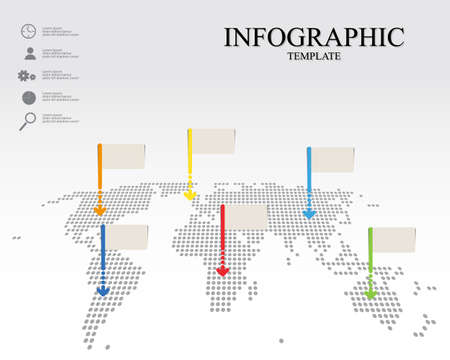 infographic world map with empty pointers and icon vector graphic