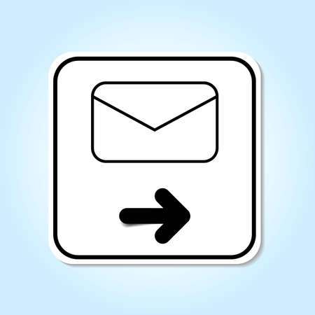 paper delivery person: mail icon with shadow vector