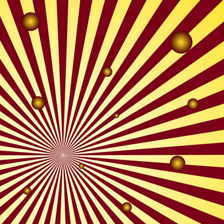 spacial: abstract spatial rays background with small flying balls vector graphic Illustration