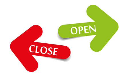 Open and Close two arrows with shadow on white background Illustration