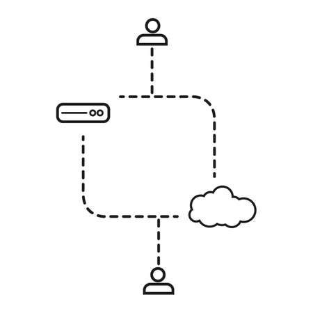 compatibility: modern line graphic online services customers data server and cloud