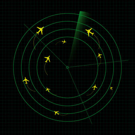 Airport radar vector graphic Illustration