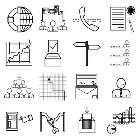 Business linear graphic icons set for web