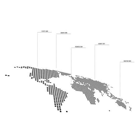 Dotted world map with pointer stats on white background Illustration