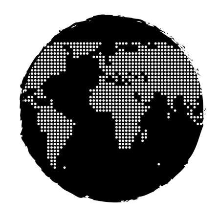 World globe with dotted map and vector brush effect
