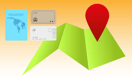 Travel map with pointer and bus, airport ticket and pasport