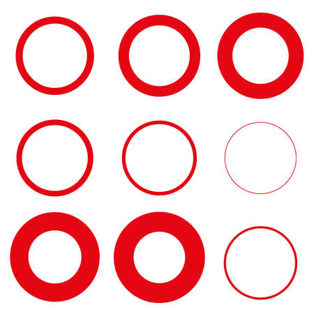 Nine red circles vector set on white background Illustration