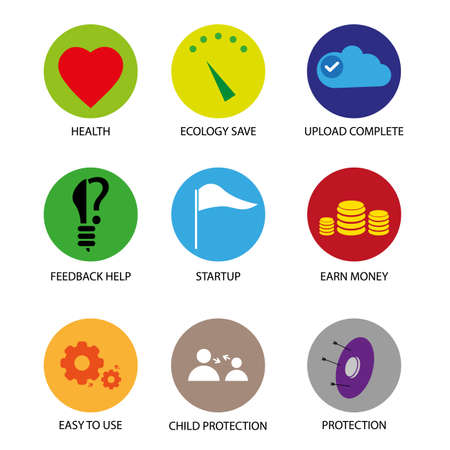 Modern circle color icons with concept signs web graphic