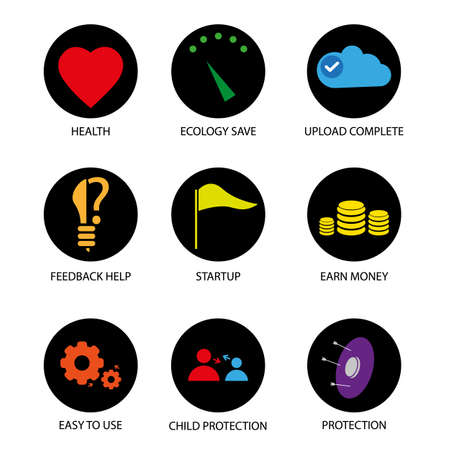 Black circle web icons with color symbols, vector