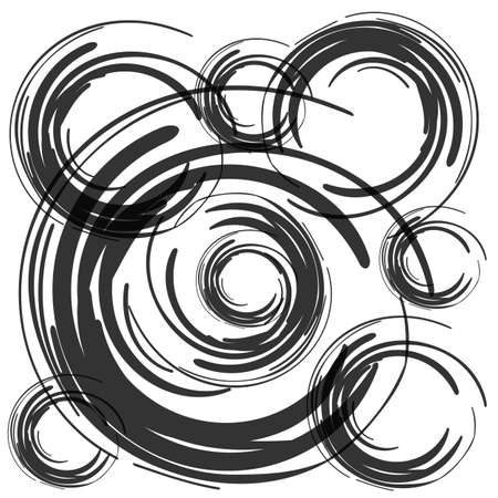 black brush circles on white background vector