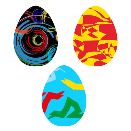 Art happy easter eggs, vector brush style