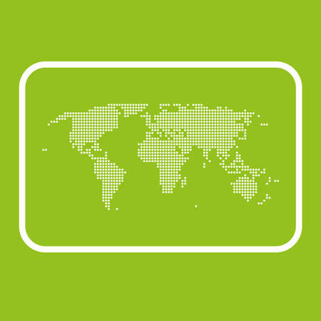 World dotted map on green background, vector graphic