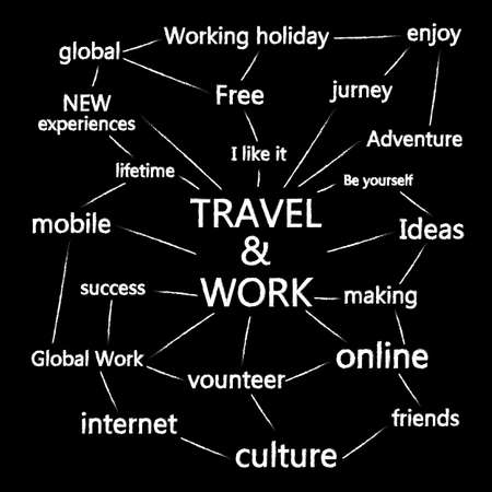 Travel and work, vector brush line and text